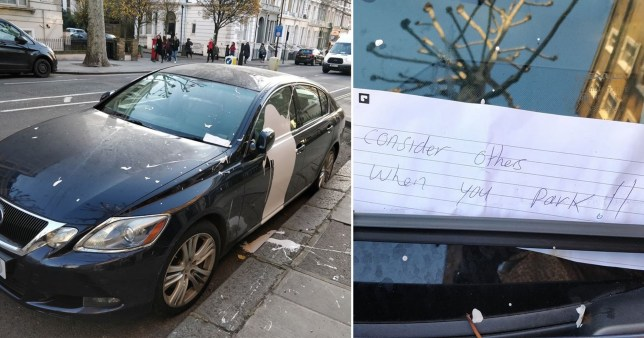 The black Lexus was left with a note and covered in paint
