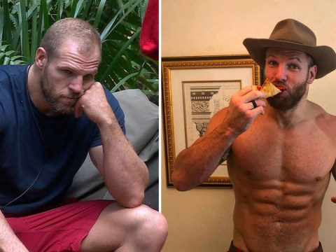 James Haskell makes up for the lost calories on I'm A Celebrity as he celebrates with pizza and beer