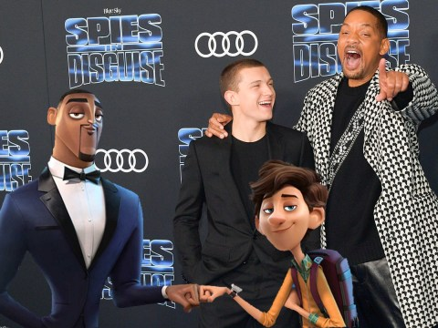 Tom Holland and Will Smith finally meet after two years of working together at Spies in Disguise premiere