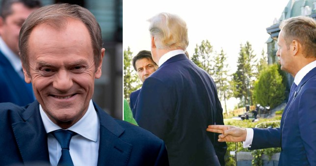Donald Tusk held his finger gun to Donald Trump's back