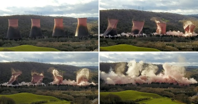 Dramatic footage shows Ironbridge Power Station cooling towers demolished