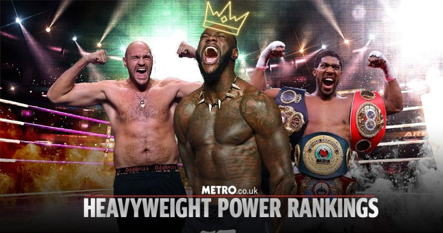 Collage of heavyweight boxers Deontay Wilder, Tyson Fury and Anthony Joshua