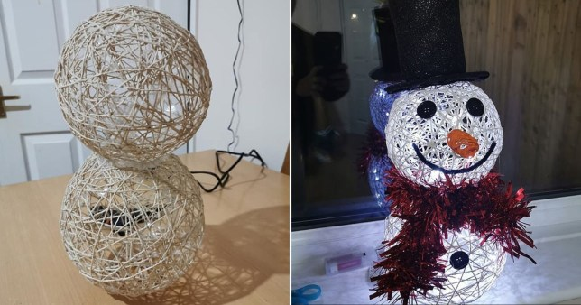 The snowman as he was being created and the finished project