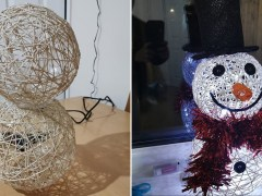 Mum makes amazing snowman Christmas decoration using string and balloons for under £12