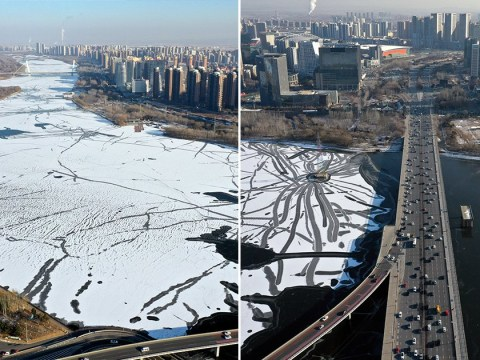 It's so cold in China an entire river has frozen over