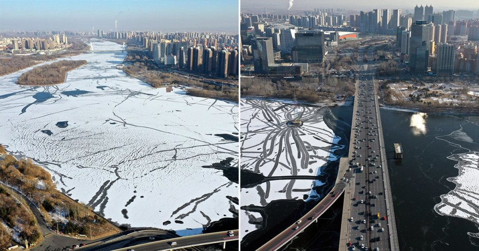 The river froze as the Chinese calendar marked the day of the Duze, that means 'great snow'