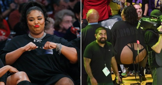 All eyes on Lizzo as she twerks in fishnets and thong at basketball match