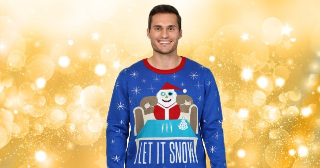 A man wearing a Christmas jumper from Walmart Canada that seems to depict Santa Claus racking up lines of cocaine