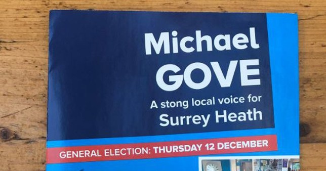 Michael Gove misspells the word strong in his campaign leaflets