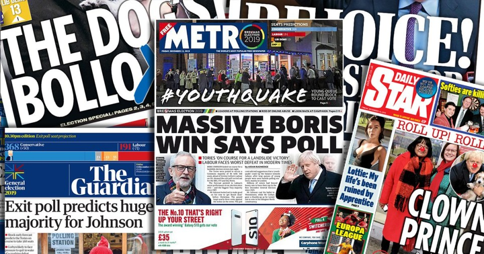 Front pages react with joy and horror after an exit poll predicted a Boris Johnson landslide