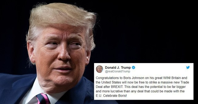 Donald Turmp tweets congratulations to Boris Johnson