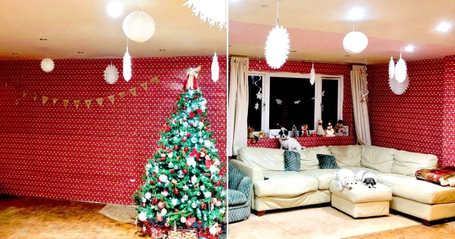 Christmas-mad mum decorates lounge with seven rolls of £1 wrapping paper