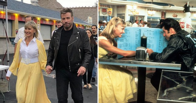Olivia Newton-John and John Travolta dress up in Grease costumes for the first time since 1978