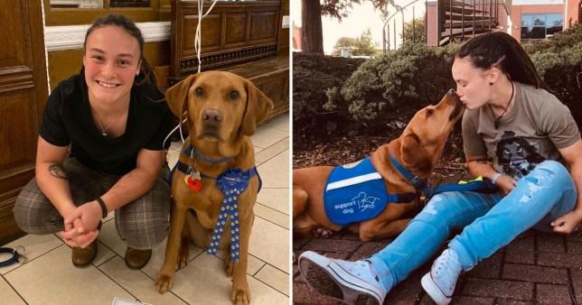Brogan Evans and her epilepsy assistance dog Waldsley