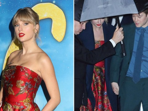 Joe Alwyn supports Taylor Swift as couple hold hands at Cats premiere