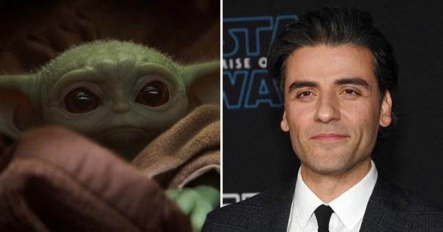 Baby Yoda and Oscar Isaac