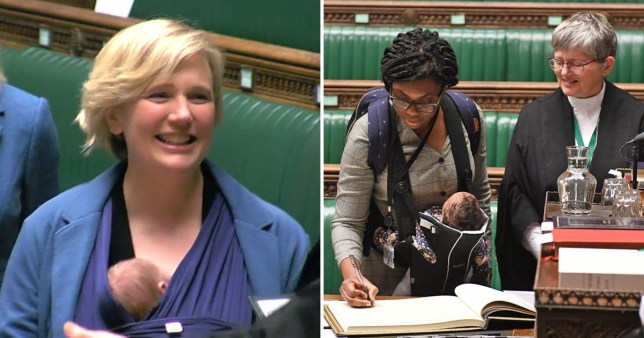 Stella Creasy and Kemi Badenoch with their babies during the swearing in of Parliament