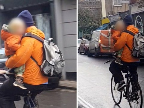'Irresponsible pillock' cycled with child under one arm and not wearing helmets