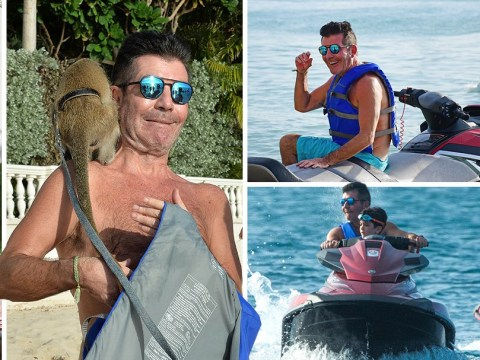 Simon Cowell monkeys around on family Barbados holiday as he gives paparazzo helping hand