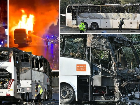 One dead and three injured after crashed National Express coach bursts into flames