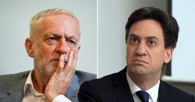 Ed Miliband and Jeremy Corbyn of Labour