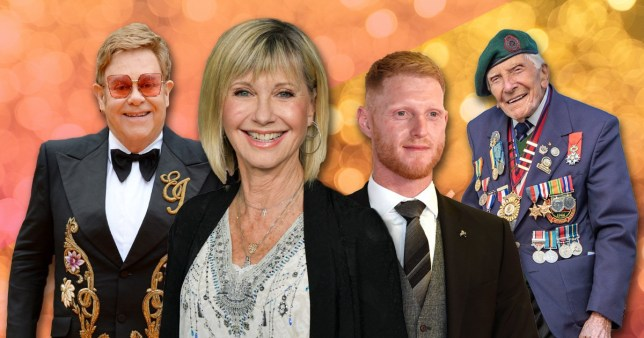 Olivia Newton-John, Ben Stokes, Elton John and war veteran Harry Billinge.