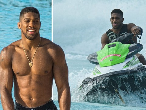 Anthony Joshua has the need for speed on jet ski as he cruises around Barbados on the holiday of dreams