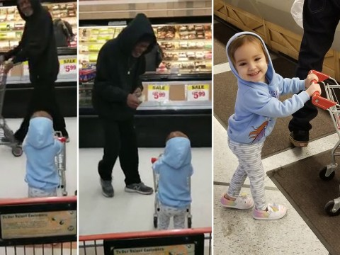 Adorable video shows kind stranger giving toddler a dollar to shop with in the supermarket