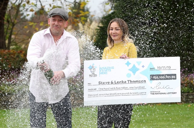 Self-employed builder Steve Thomson, 42, and his wife Lenka Thomson, 41, from Selsey, West Sussex, celebrate their ?105 million EuroMillions win at the Hilton Avisford Park, Walberton, West Sussex. PA Photo. Picture date: Tuesday November 26, 2019. Steve and Lenka, who is originally from Slovakia, have three children aged 8 to 15, and have won the 9th largest jackpot ever in the UK. See PA story LOTTERY EuroMillions. Photo credit should read: Andrew Matthews/PA Wire
