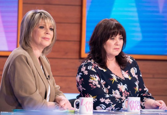 Editorial use only Mandatory Credit: Photo by S Meddle/ITV/REX (10485521n) Ruth Langsford, Coleen Nolan 'Loose Women' TV show, London, UK - 26 Nov 2019