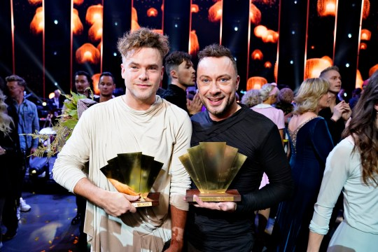 epa08034806 The first male couple on Denmark's 'Dancing with the Stars' Jakob Fauerby and Silas Holst win the final in Forum Horsens, Horsens, Denmark, 29 November 2019. EPA/Henning Bagger DENMARK OUT