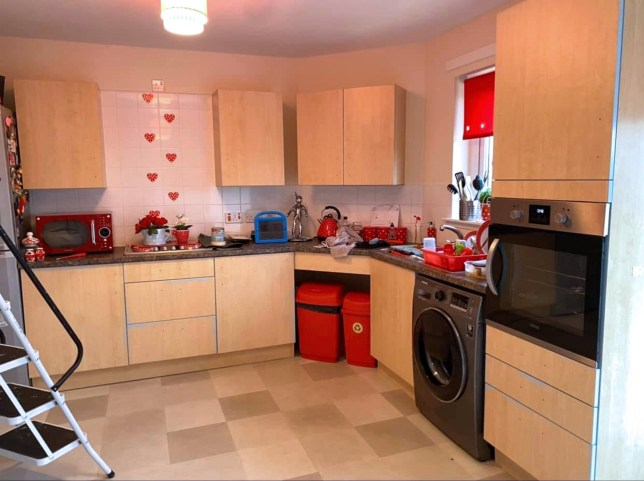 A DIY-mad mum has transformed her kitchen from council house bleak to farmhouse chic for just £218