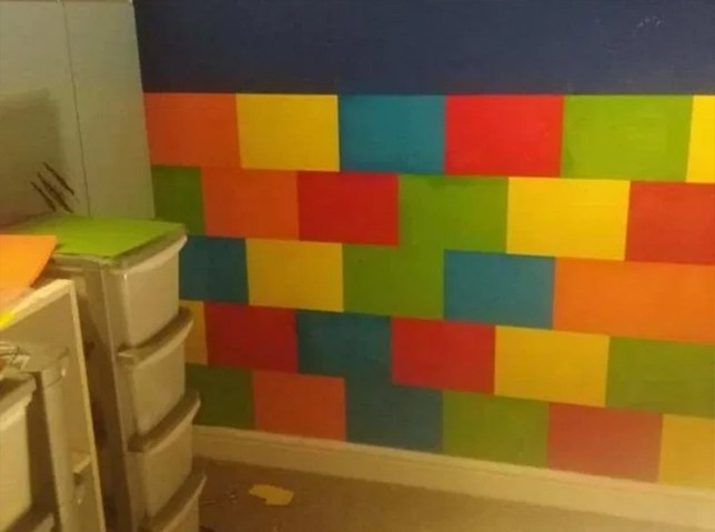 Thrifty mum creates lego wall using just A4 paper