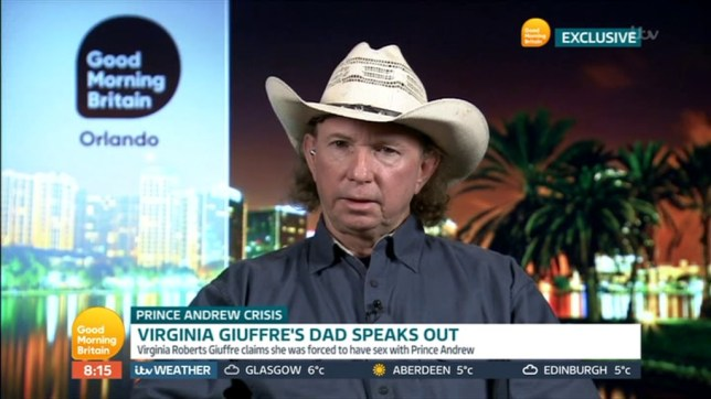 Virginia Roberts Giuffre's father Sky Roberts speaking to Good Morning Britain regarding Prince Andrew allegations