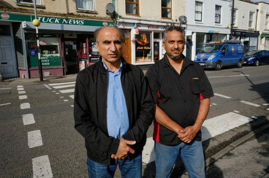 Jabir Shar with Neil Dsouza. A takeaway owner called the police after claims that two teachers were acting like BOUNCERS outside his shop - and giving detentions to any who refused to leave. See SWNS story SWBRtakeaway. Neil D'Souza, owner of Chilli Bellies in Bristol, says he has seen a massive drop in business since staff from Cotham School started patrolling the streets. The school has a policy of policing nearby roads after the end of the day at 2:45pm - and has banned students from entering various businesses before 3:15pm. Officers were called by Mr D'Souza last week when staff allegedly blocked the entrance to his shop and stepped in to boot pupils out. The school has denied teachers entered the premises at all and insisted teachers were simply making sure pupils got home safely.