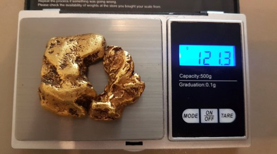 A LUCKY gold hunter has unearthed Britain?s largest nugget - and it looks like a small doughnut.? The unnamed explorer made the discovery in a Scottish river and it is thought to be worth ?80,000.? Weighing a whopping 121.3g, the 22-carat lump of gold is the biggest of its kind in the UK and has a small hole in the middle.? It was discovered in two pieces but slots together perfectly, earning it the name The Reunion Nugget. ? Lee Palmer author of Gold Occurrences In The UK, said: ?This is now the largest nugget in existence in the UK.? ?When you look at it, it?s doughnut-shaped. ?There are no impurities in it, it is just pure gold nugget of about 22 carats.? ?It really is a remarkable find.? The Reunion Nugget was discovered in a mystery Scottish river in May this year.? It was found using the method of snipping, which sees gold hunters lying face down in a river while wearing a snorkel and dry suit.? A Brit enthusiast unearthed the larger piece first, which weighs 89.6g, before finding the other 31.7g half 10 minutes later.? #### Full story with quotes available #### Please credit: Lee Palmer/pictureexclusive.com Standard reproduction rates apply to words and pictures, contact Paul Jacobs - Picture Exclusive to arrange payment - 07923 866166, pictureexclusive@gmail.com