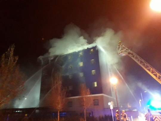 Around 100 firefighters battle a blaze at a five-storey hotel in west London in the early hours of Wednesday (London Fire Brigade/PA)