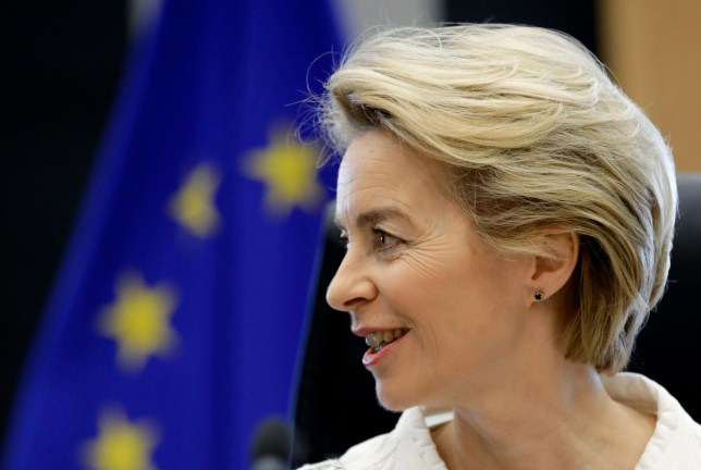 European Commission President Ursula von der Leyen presides over a meeting of the college of commissioners at EU headquarters in Brussels, Wednesday, Dec. 4, 2019. Newly appointed EU commissioners and European Commission President Ursula von der Leyen held their first meeting after taking office on Dec. 1, 2019. (AP Photo/Olivier Matthys)