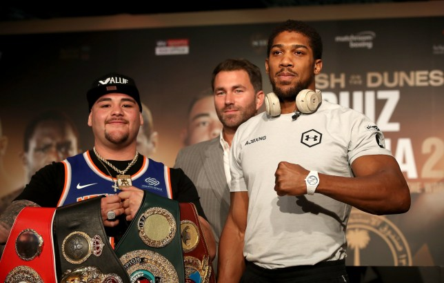 Anthony Joshua and Andy Ruiz Jr pose for pictures at a press conference