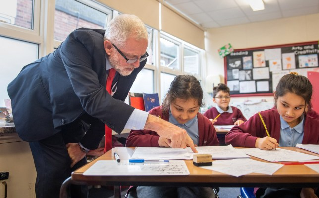 Labour leader Jeremy Corbyn during a visit to Fulbridge Academy in Peterborough, while on the General Election campaign trail. PA Photo. Picture date: Thursday December 5, 2019. See PA story POLITICS Election. Photo credit should read: Joe Giddens/PA Wire