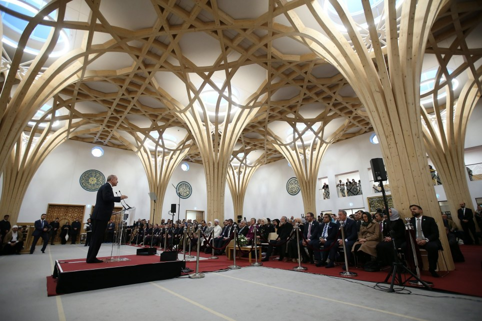 LONDON, ENGLAND - DECEMBER 5: Turkish President Recep Tayyip Erdogan makes a speech as he attends official opening ceremony of Cambridge Central Mosque in London, United Kingdom on December 5, 2019. (Photo by Mehmet Ali Ozcan/Anadolu Agency via Getty Images)