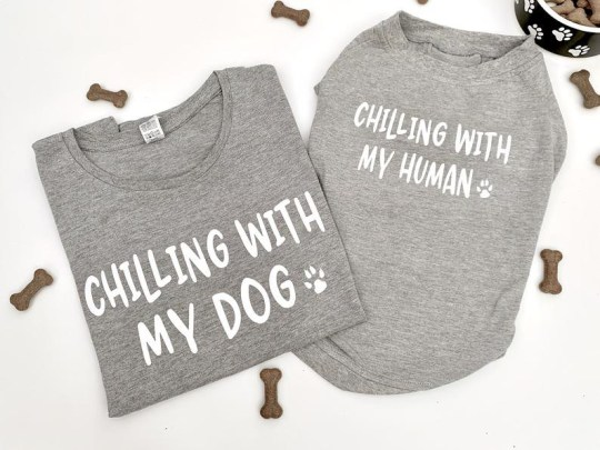 Matching grey t-shirt for dog and human from The Dainty Dog Co on Etsy with the words 'chilling with my dog' and 'chilling with my human' embossed on the front