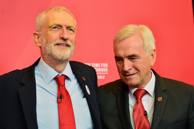 LIVERPOOL, ENGLAND - NOVEMBER 07: Labour Party Leader Jeremy Corbyn stands with Shadow Chancellor John McDonnell (R) after his major speech on the economy at the Invisible Wind Factory on November 7, 2019 in Liverpool, England. (Photo by Richard Martin-Roberts/Getty Images)