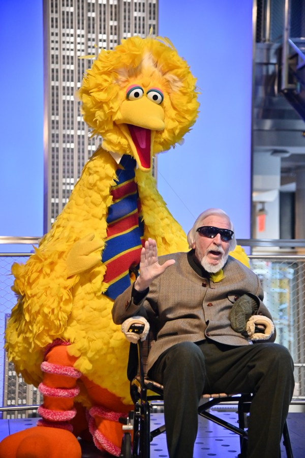 FILE - DECEMBER 8, 2019: It was reported that Caroll Spinney, the longtime puppeteer behind Sesame Street characters Big Bird and Oscar the Grouch, died today, December 8,h 2019, at age 85 at his home in Connecticut, after living with Dystonia for some time. NEW YORK, NEW YORK - NOVEMBER 08: Sesame Street's Big Bird And Puppeteer Caroll Spinney Light The Empire State Building at The Empire State Building on November 08, 2019 in New York City. (Photo by Theo Wargo/Getty Images)