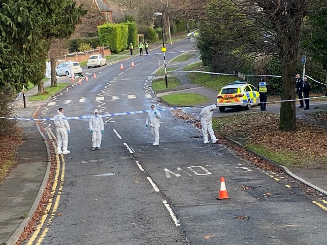 Northants Police Search Team handout photo of forensic and police officers in Wellingborough Road in Rushden. Northampton, following the death of a 25-year-old woman knifed in nearby St George's Way. PA Photo. Picture date: Sunday December 8, 2019. See PA story POLICE Rushden. Photo credit should read: Northants Police Search Team/PA Wire NOTE TO EDITORS: This handout photo may only be used in for editorial reporting purposes for the contemporaneous illustration of events, things or the people in the image or facts mentioned in the caption. Reuse of the picture may require further permission from the copyright holder.