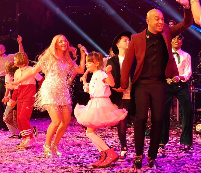 Emma Bunton dances with family onstage as she performs first solo show in over decade