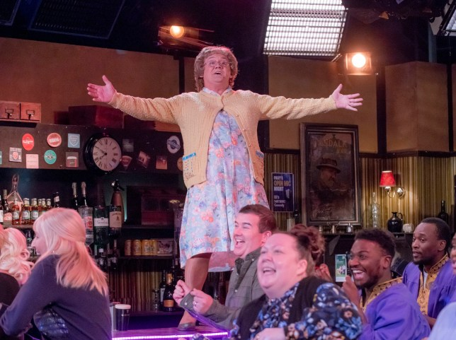 WARNING: Embargoed for publication until 00:00:01 on 07/12/2019 - Programme Name: Mrs Brown's Boys Christmas and New Year Special - TX: n/a - Episode: Orange is the New Mammy (No. 2 - Orange is the New Mammy) - Picture Shows: in Foley's Bar. **STRICTLY EMBARGOED NOT FOR PUBLICATION BEFORE 00:01 HRS ON SATURDAY 7TH DECEMBER 2019** Mrs Brown (BRENDAN O???CARROLL) - (C) BBC Studios - Photographer: Alan Peebles