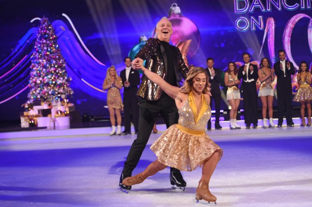 LONDON, ENGLAND - DECEMBER 09: Alex Murphy and Michael Barrymore on the ice during the Dancing On Ice 2019 photocall at ITV Studios on December 09, 2019 in London, England. (Photo by Stuart C. Wilson/Getty Images)