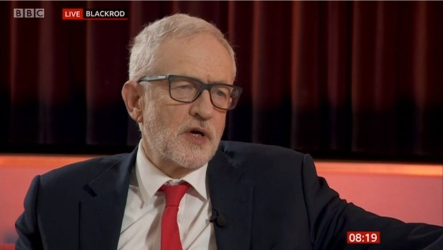 Jeremy Corbyn during an interview with Louise Minchin on BBC Breakfast