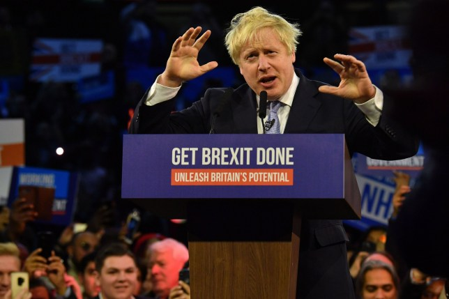 Britain's Prime Minister and Conservative party leader Boris Johnson speaks during a general election campaign rally